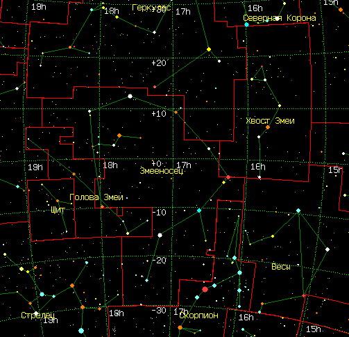 Созвездие видимо в широтах от 74 до 64